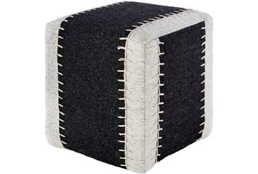 Pouf-Blanket Stitch Navy And White