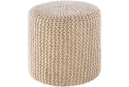 Pouf-Knitted Cylinder Ivory - Main
