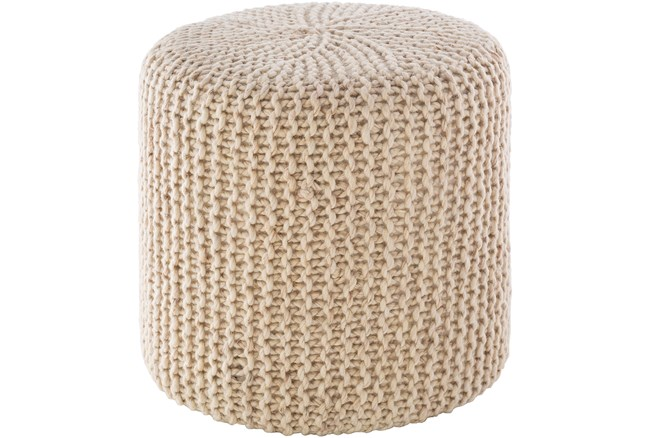 Pouf-Knitted Cylinder Ivory - 360