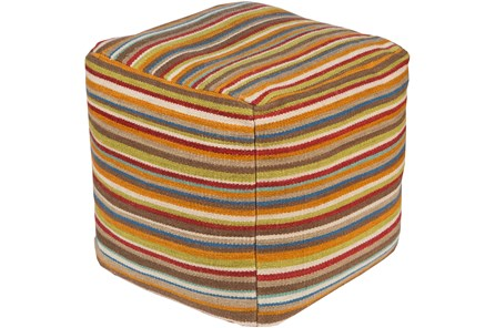Pouf-Ashley Multicolored Stripes