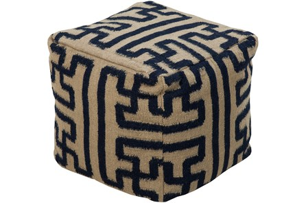 Pouf-Geometric Navy And Khaki