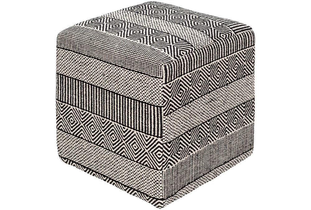 Pouf-Patterned With Black And White Designs
