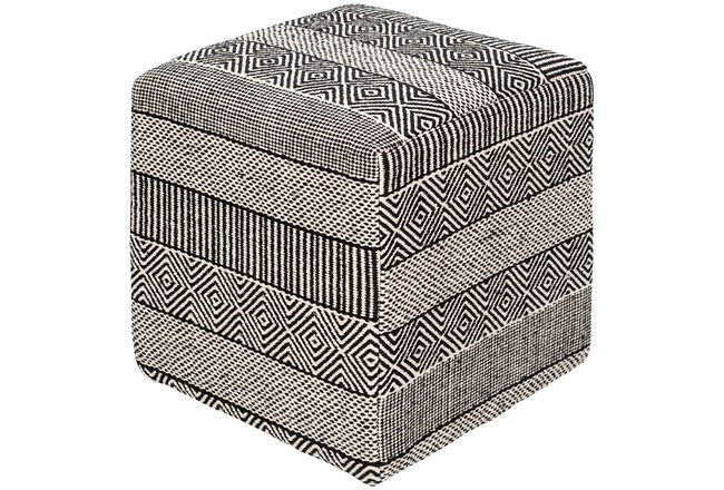 Pouf-Patterned With Black And White Designs - 360