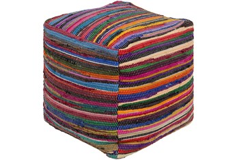 Pouf-Courtney Multicolor Stripes
