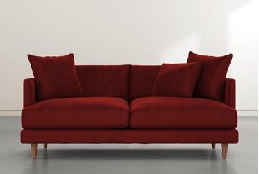 """Adeline II 81"""" Burgundy Velvet Sofa"""