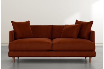 Adeline II Orange Velvet Sofa