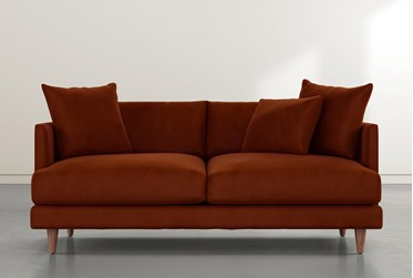 """Adeline II 81"""" Orange Velvet Sofa"""