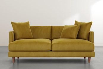 """Adeline II 81"""" Gold Velvet Sofa"""