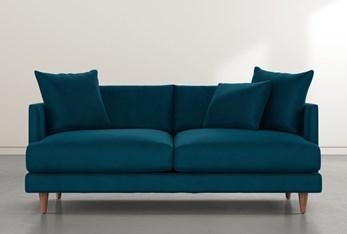"""Adeline II 81"""" Teal Blue Velvet Sofa"""