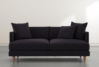 """Adeline II Black Velvet 81"""" Sofa"""