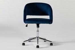Phoebe Blue Velvet Rolling Office Chair