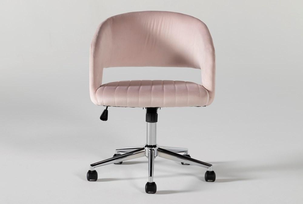 Phoebe Blush Velvet Desk Chair