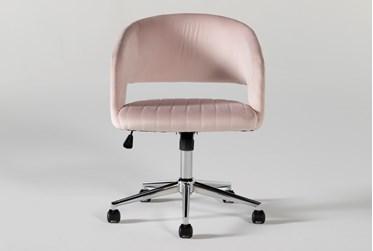Phoebe Blush Velvet Rolling Office Chair
