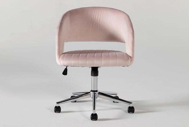 Phoebe Blush Velvet Rolling Office Chair - 360