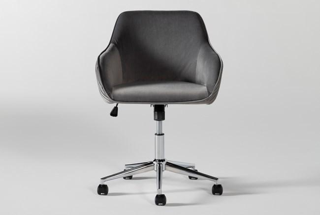 Robyn Grey Velvet Rolling Office Chair - 360