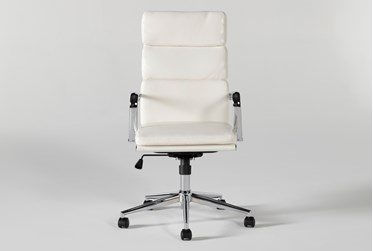 Moby White High Back Rolling Office Chair