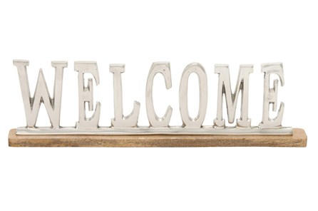6 Inch Silver Welcome Sign