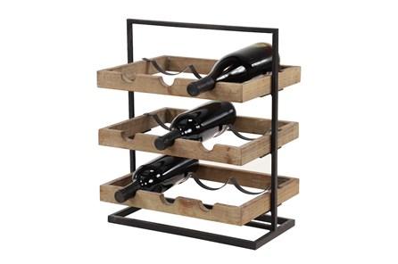 17 Inch Metal Wood Wine Holder - Main