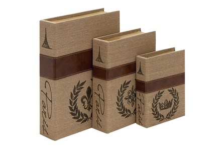 Burlap Book Box Set Of 3