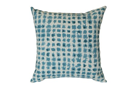 Outdoor Accent Pillow-Teal Tie Dye Squares 18X18 - Main