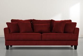 "Elijah II 100"" Burgundy Velvet Sofa"