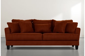 "Elijah II 100"" Orange Velvet Sofa"