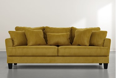 "Elijah II 100"" Gold Velvet Sofa"