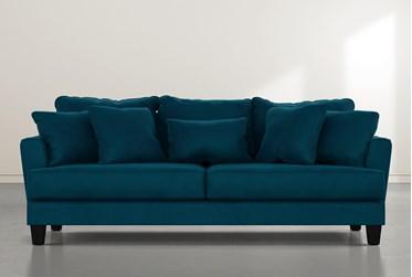 "Elijah II 100"" Teal Blue Velvet Sofa"