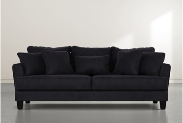 """Elijah II 100"""" Dark Grey Velvet Sofa"""