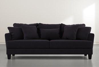 "Elijah II Black Velvet 100"" Sofa"