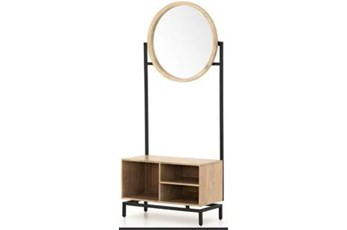 74 Inch Entry Way Bench With Round Mirror