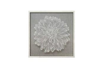 24X24 Flower Paper Art White