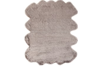 72X90 Oval Rug-Faux Fur Shag Brown