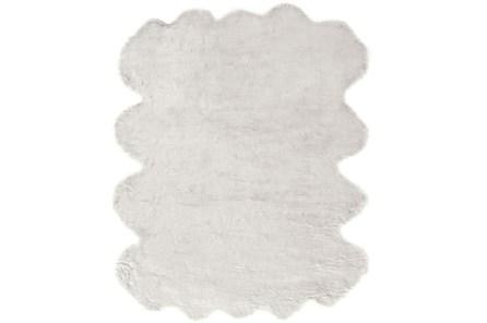 72X90 Oval Rug-Faux Fur Shag Ivory