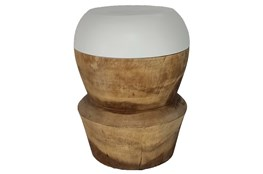 White + Natural Color Block Stool