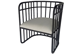 Matte Black Metal Wrap Accent Chair