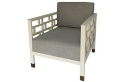 White Geometric Accent Chair