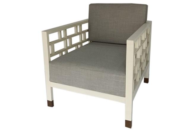 White Geometric Accent Chair - 360