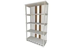 """Ivory White Wood + Cane 81"""" Bookshelf"""