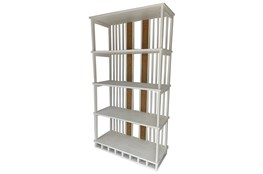 Ivory White Wood + Cane Bookshelf
