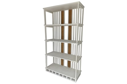 Ivory White Wood + Cane Bookshelf - Main