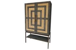 Mahogany + Cane Tall Cabinet