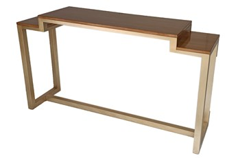 "Champagne + Natural Wood 59"" Console Table"