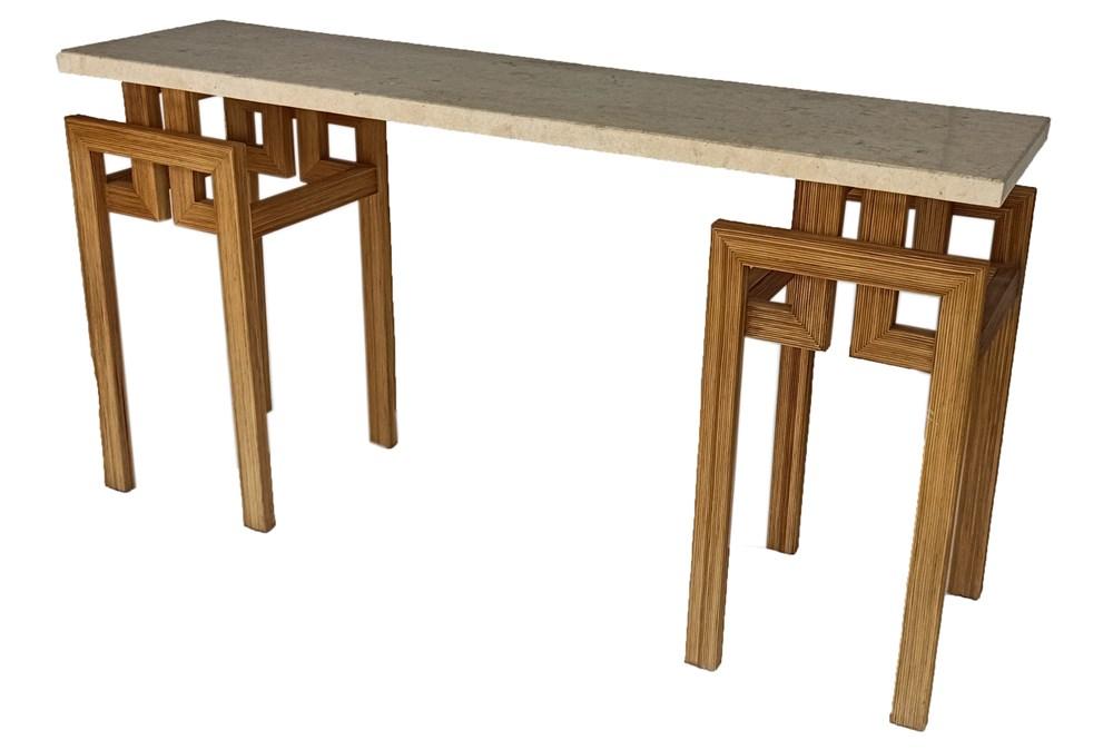 Polished Mactan Stone + Rattan Console Table