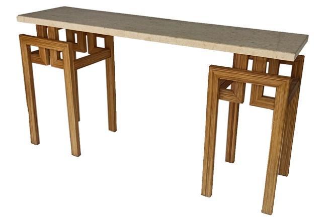 Polished Mactan Stone + Rattan Console Table - 360