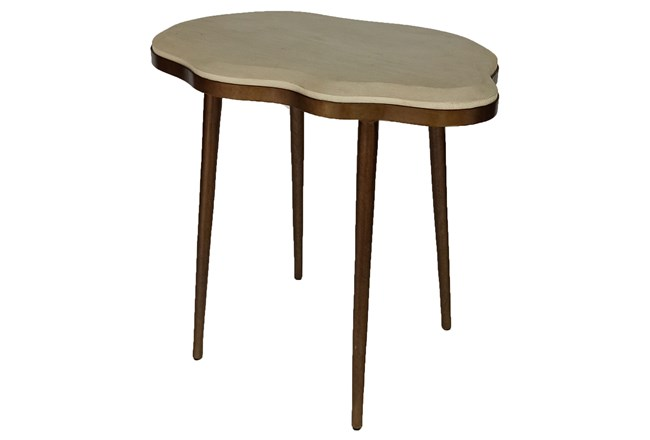 White + Brass Liquid Accent Table - 360