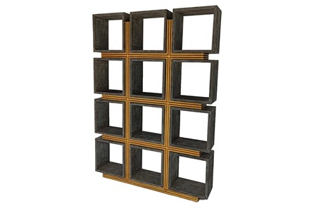 Grey + Rustic Gold Wood Bookcase - Main