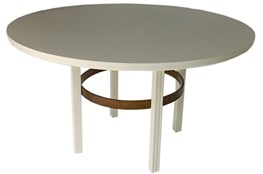 White + Brass Round Dining Table