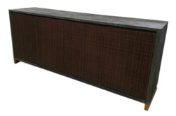 "Grey + Rustic Gold Wood 4 Door 82"" Sideboard"