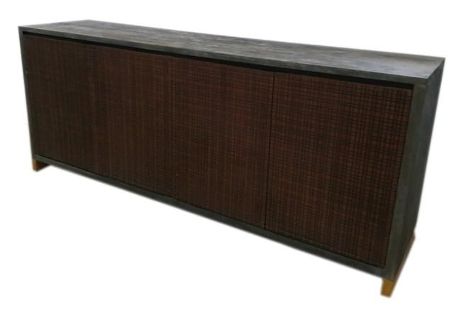 Grey + Rustic Gold Wood 4 Door Sideboard  - 360